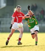 8 February 2015; Annie Walsh, Cork, in action against Kate O'Sullivan, Kerry. TESCO HomeGrown Ladies National Football League, Division 1, Round 2, Cork v Kerry, Cloughduv, Cork. Picture credit: Paul Mohan / SPORTSFILE