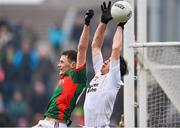 8 February 2015; Diarmuid O'Connor, Mayo, in action against Padraig McNulty, Tyrone. Allianz Football League, Division 1, Round 2, Mayo v Tyrone, Elverys MacHale Park, Castlebar, Co. Mayo. Picture credit: David Maher / SPORTSFILE