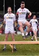 8 February 2015; Tyrone players, Sean Kavanagh, left and Darren McCurry, arrive at the team bench for the offical photograph. Allianz Football League, Division 1, Round 2, Mayo v Tyrone, Elverys MacHale Park, Castlebar, Co. Mayo. Picture credit: David Maher / SPORTSFILE