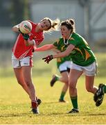 8 February 2015; Ciara O'Sullivan, Cork, in action against Lorraine Scanlon, Kerry. TESCO HomeGrown Ladies National Football League, Division 1, Round 2, Cork v Kerry, Cloughduv, Cork. Picture credit: Paul Mohan / SPORTSFILE