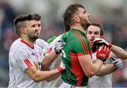 8 February 2015; Aidan O'Shea, Mayo, tussles with, Tyrone players from left, Tiernan  McCann, Colm Cavanagh and Ronan McNamee shortly before been shown the black card from referee Eddie Kinsella. Allianz Football League, Division 1, Round 2, Mayo v Tyrone, Elverys MacHale Park, Castlebar, Co. Mayo. Picture credit: David Maher / SPORTSFILE