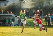 8 February 2015; Louise Ni Mhuirtceartaigh, Kerry, in action against Maire O'Callaghan, Cork. TESCO HomeGrown Ladies National Football League, Division 1, Round 2, Cork v Kerry, Cloughduv, Cork. Picture credit: Paul Mohan / SPORTSFILE