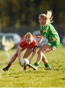 8 February 2015; Vera Foley, Cork, in action against Bernie Breen, Kerry. TESCO HomeGrown Ladies National Football League, Division 1, Round 2, Cork v Kerry, Cloughduv, Cork. Picture credit: Paul Mohan / SPORTSFILE