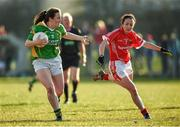 8 February 2015; Anna Galvin, Kerry, in action against Geraldine O'Flynn, Cork. TESCO HomeGrown Ladies National Football League, Division 1, Round 2, Cork v Kerry, Cloughduv, Cork. Picture credit: Paul Mohan / SPORTSFILE