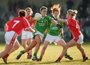 8 February 2015; Louise Galvin, Kerry, in action against Brid Stack, Cork. TESCO HomeGrown Ladies National Football League, Division 1, Round 2, Cork v Kerry, Cloughduv, Cork. Picture credit: Paul Mohan / SPORTSFILE