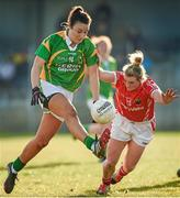 8 February 2015; Louise Galvin, Kerry, in action against Breige Corkery, Cork. TESCO HomeGrown Ladies National Football League, Division 1, Round 2, Cork v Kerry, Cloughduv, Cork. Picture credit: Paul Mohan / SPORTSFILE