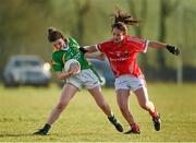 8 February 2015; Cait Lynch, Kerry, in action against Roisin O'Sullivan, Cork. TESCO HomeGrown Ladies National Football League, Division 1, Round 2, Cork v Kerry, Cloughduv, Cork. Picture credit: Paul Mohan / SPORTSFILE