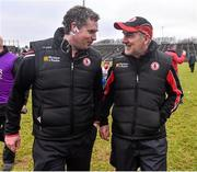 8 February 2015; Tyrone manager Mickey Harte with selector Gavin Devlin at the end of the game. Allianz Football League, Division 1, Round 2, Mayo v Tyrone, Elverys MacHale Park, Castlebar, Co. Mayo. Picture credit: David Maher / SPORTSFILE