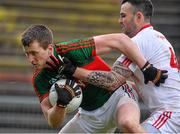 8 February 2015; Cillian O'Connor, Mayo, in action against Cathal McCarron, Tyrone. Allianz Football League, Division 1, Round 2, Mayo v Tyrone, Elverys MacHale Park, Castlebar, Co. Mayo. Picture credit: David Maher / SPORTSFILE