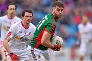 8 February 2015; Aidan O'Shea, Mayo, in action against Cathal McCarron, Tyrone. Allianz Football League, Division 1, Round 2, Mayo v Tyrone, Elverys MacHale Park, Castlebar, Co. Mayo. Picture credit: David Maher / SPORTSFILE