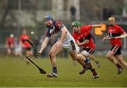 10 February 2015; Jason Forde, UL, in action against Alan Cadogan, UCC. Independent.ie Fitzgibbon Cup, Group B, Round 3, UCC v UL, Mardyke, Cork. Picture credit: Barry Cregg / SPORTSFILE