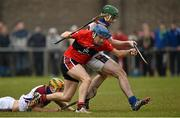 10 February 2015; Shane O'Donnell, UCC, in action against Dan Morrissey, left, and David McInerney, UL. Independent.ie Fitzgibbon Cup, Group B, Round 3, UCC v UL, Mardyke, Cork. Picture credit: Barry Cregg / SPORTSFILE