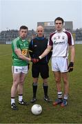8 February 2015; Match referee Cormac Reilly with captains Ger Egan, Westmeath, left, and Galway's Fiontan O Curraoin. Allianz Football League, Division 2, Round 2, Westmeath v Galway, Cusack Park, Mullingar, Co. Westmeath. Picture credit: Ray McManus / SPORTSFILE