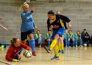10 February 2015; Aisling Frawley, DCU, in action against Richael Timothy, Athlone IT. Women's Soccer Colleges Association of Ireland,  National Futsal Finals, Institute of Technology, Sligo. Picture credit: Oliver McVeigh / SPORTSFILE
