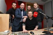 11 February 2015; Newstalk 106-108 FM today announced that one of the greatest hurlers the game has ever seen, DJ Carey, will join the 'Off the Ball' team. DJ has signed an exclusive deal as a GAA analyst, and will contribute to the station throughout the GAA season, as well as participate in many of the station's outside broadcasts. His first broadcast will take place later this month. Pictured is DJ Carey with Off The Ball team presenters from left Joe Molloy, Colm Parkinson, Ger Gilroy, Sports Editor, Newstalk 106-108fm and Adrian Barry. Newstalk, Digges Lane, Dublin. Picture credit: Matt Browne / SPORTSFILE
