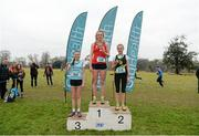 11 February 2015; Emma O'Brien, centre, Dominican College Wicklow, winner of the Intermediate Girl's race with runner up Niamh Ni Chiardha, Colaiste Iosagain, right, and third placed finisher Jodie McCann, Rathdown, at the GloHealth Leinster Schools' Cross Country Championships. Santry Demesne, Santry, Co. Dublin. Picture credit: Barry Cregg / SPORTSFILE