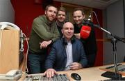 11 February 2015; Newstalk 106-108 FM today announced that one of the greatest hurlers the game has ever seen, DJ Carey, will join the 'Off the Ball' team. DJ has signed an exclusive deal as a GAA analyst, and will contribute to the station throughout the GAA season, as well as participate in many of the station's outside broadcasts. His first broadcast will take place later this month. Pictured is DJ Carey with Off The Ball team presenters from left Colm Parkinson, Adrian Barry and Ger Gilroy, Sports Editor, Newstalk 106-108fm. Newstalk, Digges Lane, Dublin.b Picture credit: Matt Browne / SPORTSFILE