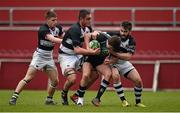 11 February 2015; Tom Ryan, Castletroy College, is tackled by Billy Pope, left, Brian O'Mahony, centre, and Robin Reidy, PBC. SEAT Munster Schools Senior Cup Quarter-Final, Castletroy College v Presentation Brothers College. Thomond Park, Limerick. Picture credit: Diarmuid Greene / SPORTSFILE