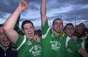 13 April 2000; Jason Stokes of Limerick, centre, celebrates with team-mates following the Munster Under-21 Football Championship Final match between Waterford and Limerick at Fraher Field in Dungarvan, Waterford. Photo by Matt Browne/Sportsfile