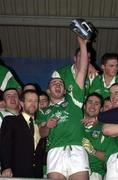 13 April 2000; Limerick captain Jason Stokes lifts the trophy following the Munster Under-21 Football Championship Final match between Waterford and Limerick at Fraher Field in Dungarvan, Waterford. Photo by Matt Browne/Sportsfile