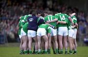 13 April 2000; The Limerick team huddle prior to the Munster Under-21 Football Championship Final match between Waterford and Limerick at Fraher Field in Dungarvan, Waterford. Photo by Matt Browne/Sportsfile