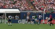 18 June 1994; Ray Houghton of Republic of Ireland shoots to score his side's first goal during the FIFA World Cup 1994 Group E match between Republic of Ireland and Italy at Giants Stadium in New Jersey, USA. Photo by David Maher/Sportsfile