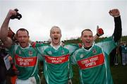 25 November 2007; David Brady, left, Ballina Stephenites, and his brothers Liam, centre, and Ger celebrate at the end of the game. AIB Connacht Senior Club Football Championship Final, Ballina Stephenites, Mayo, v St. Brigid's, Roscommon. James Stephen's Park, Ballina, Co. Mayo. Picture credit; David Maher / SPORTSFILE
