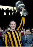 18 April 1982; Kilkenny captain Brian Cody lifts the National League Trophy after the game. 1981/82 National Hurling League Final, Kilkenny v Wexford. Croke Park, Dublin. Picture credit: SPORTSFILE