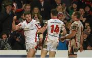 13 February 2015; Ulster's Stuart McCloskey, left, celebrates with Craig Gilroy and Roger Wilson after scoring his side's third try. Guinness PRO12, Round 14, Ulster v Treviso, Kingspan Stadium, Ravenhill Park, Belfast. Picture credit: Oliver McVeigh / SPORTSFILE