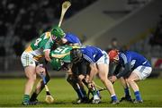 14 February 2015; Offaly forwards Paddy Murphy and Stephen Quirke and Laois defenders Brian Stapleton, Cahir Healy and Joe Fitzpatrick go in search of the sliothar. Allianz Hurling League Division 1B, Round 1, Laois v Offaly. O'Moore Park, Portlaoise, Co. Laois. Picture credit: Ray McManus / SPORTSFILE