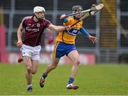 15 February 2015; Gearoid McInerney, Galway, in action against Patrick Donnellan, Clare. Allianz Hurling League, Division 1A, Round 1, Galway v Clare, Pearse Stadium, Galway. Picture credit: David Maher / SPORTSFILE