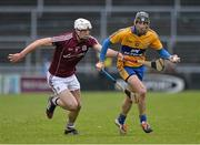 15 February 2015; Patrick Donnellan, Clare, in action against Gearoid McInerney, Galway. Allianz Hurling League, Division 1A, Round 1, Galway v Clare, Pearse Stadium, Galway. Picture credit: David Maher / SPORTSFILE
