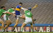 15 February 2015; Stephen Beatty, O'Donovan Rossa, scores his side's first goal, despite the efforts of Kilburn Gaels defenders, from left, Brian Regan, Noel Brophy and Christopher McAlinden. AIB GAA Hurling All-Ireland Intermediate Club Championship Final, O'Donovan Rossa v Kilburn Gaels, Croke Park, Dublin. Picture credit: Piaras Ó Mídheach / SPORTSFILE