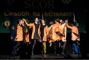 14 February 2015; The Downs, Co. Westmeath, team of Amy Dagg, Erica Hynes, Niamh Rowan, Sophie Joyce, Serena Wynne, Katie McGrath, Orlaith Murray and Cara Hogan, competing in the Figure Dancing competition during the All-Ireland Scór na nÓg Championship Finals 2015. Citywest Hotel, Saggart, Co. Dublin. Picture credit: Pat Murphy / SPORTSFILE