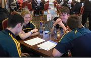 14 February 2015; The CLG Craobh Chumhra Crecora, Limerick, team of Cian Leahy, Karl Moloney Eoin Moore and Derbhla Egan who came second in the Table Quiz competition during the All-Ireland Scór na nÓg Championship Finals 2015. Citywest Hotel, Saggart, Co. Dublin. Picture credit: Pat Murphy / SPORTSFILE