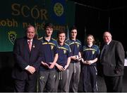 14 February 2015; The CLG Craobh Chumhra Crecora, Limerick, team of Cian Leahy, Karl Moloney Eoin Moore and Derbhla Egan reive their medals from Uachtaran Cumann Luthcleas Gael Liam O Neill, left, and Liam O Laochdha, Cathaoirleach, Coiste Naisiunta Scor, right, after finishing second in the Table Quiz competition during the All-Ireland Scór na nÓg Championship Finals 2015. Citywest Hotel, Saggart, Co. Dublin. Picture credit: Pat Murphy / SPORTSFILE