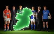 16 February 2015; In attendance at the announcement of EirGrid as the new title sponsor of the GAA Football U21 All-Ireland Championship at Croke Park are, from left, Brian O'Driscoll, Cork, Fintan Slye, CEO, EirGrid, Diarmuid O'Connor, Mayo, Enda Flanagan, Cavan, John O'Connor, EirGrid, and Conor McHugh, Dublin. Croke Park, Dublin. Picture credit: Brendan Moran / SPORTSFILE