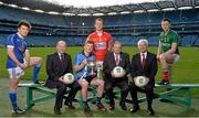 16 February 2015; In attendance at the announcement of EirGrid as the new title sponsor of the GAA Football U21 All-Ireland Championship at Croke Park are, from left, Enda Flanagan, Cavan, Fintan Slye, CEO EirGrid, Conor McHugh, Dublin, Brian O'Driscoll, Cork, Uachtarán Chumann Lúthchleas Gael Liam Ó Néill, John O'Connor, Chairman, EirGrid, and Diarmuid O'Connor, Mayo. Croke Park, Dublin. Picture credit: Brendan Moran / SPORTSFILE