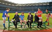 16 February 2015; In attendance at the announcement of EirGrid as the new title sponsor of the GAA Football U21 All-Ireland Championship at Croke Park are, from left, Enda Flanagan, Cavan, Fintan Slye, CEO EirGrid, Conor McHugh, Dublin, Uachtarán Chumann Lúthchleas Gael Liam Ó Néill, John O'Connor, Chairman, EirGrid, Brian O'Driscoll, Cork, and Diarmuid O'Connor, Mayo. Croke Park, Dublin. Picture credit: Brendan Moran / SPORTSFILE