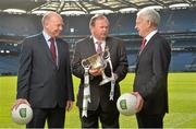 16 February 2015; In attendance at the announcement of EirGrid as the new title sponsor of the GAA Football U21 All-Ireland Championship at Croke Park are, from left, Fintan Slye, CEO EirGrid, Uachtarán Chumann Lúthchleas Gael Liam Ó Néill and John O'Connor, Chairman, EirGrid. Croke Park, Dublin. Picture credit: Brendan Moran / SPORTSFILE