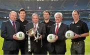 16 February 2015; In attendance at the announcement of EirGrid as the new title sponsor of the GAA Football U21 All-Ireland Championship at Croke Park are, from left, Fintan Slye, CEO EirGrid, U21 ambassador and former Galway footballer Micheal Meehan, Uachtarán Chumann Lúthchleas Gael Liam Ó Néill, U21 ambassador and former Dublin footballer Bryan Cullen, John O'Connor, Chairman, EirGrid, and Eoin Kennedy, Principal Engineer, EirGrid, and current All-Ireland Senior Singles Handball Champion. Croke Park, Dublin. Picture credit: Brendan Moran / SPORTSFILE
