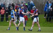 18 February 2015; UL players Thomas Cleary, left, and Stephen Bennett, celebrate at the end of the game as Conor O'Shea, UCD, looks on. Independent.ie Fitzgibbon Cup Quarter-Final, UL v UCD. University of Limerick, Limerick. Picture credit: Diarmuid Greene / SPORTSFILE
