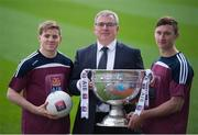 20 February 2015; The GAA and AIB today announced a unique new partnership agreement that will unite club and county for the first time under one sponsor. AIB, partner of the AIB GAA Club Championships for the last 23 years, will also now become a sponsor of the GAA All Ireland Senior Football Championships. The new agreement also sees the extension of the current sponsorship of the AIB GAA and Camogie Club Championships until March 2018. Pictured at the announcement are, from left to right, Clare footballer Podge Collins, Bernard Byrne, Director of Retail and Business Banking, AIB, and Kerry footballer James O'Donoghue. Croke Park, Dublin. Picture credit: Ray McManus / SPORTSFILE