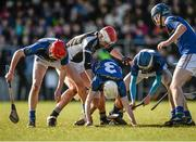 21 February 2015; Cathal Moloney, Thurles CBS, supported by team-mates Dillon Quirke, left, and Enda Heffernan, centre, try to win possession from Ciaran Cormack, St Francis College, Rochestown. Dr. Harty Cup Final, Thurles CBS v St Francis College, Rochestown. Mallow GAA Complex, Mallow, Co. Cork. Picture credit: Piaras Ó Mídheach / SPORTSFILE