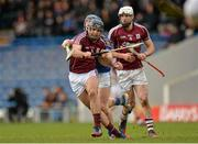 22 February 2015; David Collins, Galway, supported by team-mate Gearóid McInerney, in action against Jason Forde, Tipperary. Allianz Hurling League, Division 1A, Round 2, Tipperary v Galway. Semple Stadium, Thurles, Co. Tipperary. Picture credit: Piaras Ó Mídheach / SPORTSFILE