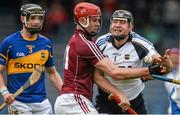 22 February 2015; Darren Gleeson, Tipperary, supported by team-mate Paul Curran, in action against Jonathan Glynn, Galway. Allianz Hurling League, Division 1A, Round 2, Tipperary v Galway. Semple Stadium, Thurles, Co. Tipperary. Picture credit: Piaras Ó Mídheach / SPORTSFILE
