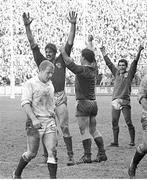 30 March 1985; Ireland players Willie Anderson, left, Jim McCoy and Michael Bradley, right, celebrate winning the Triple Crown at the final whistle. Five Nations Rugby Championship, Ireland v England, Lansdowne Road, Dublin. Picture credit: Ray McManus / SPORTSFILE