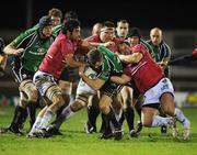 18 January 2008; Matt Mostyn, Connacht Rugby, is tackled by Simon Azoulai, left, and Jean-Phillippe Bonrepaux, Brive. European Challenge Cup, Pool 3, Round 6, Connacht Rugby v Brive, Sportsground, Galway. Picture credit; Matt Browne / SPORTSFILE