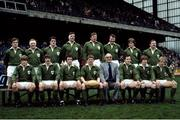 "19 March 1983; The Ireland rugby team that won a share of The 1983 Five Nations Championship. Players pictured back row, left to right, Fergus Slattery, Gerry ""Ginger"" McLoughlin, John O'Driscoll, Donal Lenihan, Moss Keane, Willie Duggan, Hugo MacNeill, and Phil Orr. Bottom, l to r, Trevor Ringland, David Irwin, Michael Kiernan, Ciaran Fitzgerald, Moss Finn, Ollie Campbell, and Robbie McGrath. Ireland v England, Five Nations. Lansdowne Road. Ireland 25 England 15. Picture credit: Ray McManus / SPORTSFILE"