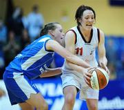13 January 2008; Lindsay Peat, DCU Mercy, in action against Michelle Aspell, Waterford Wildcats. Women's SuperLeague National Cup Semi-Final 2008, Waterford Wildcats v DCU Mercy, Dublin, National Basketball Arena, Tallaght, Dublin. Picture credit: Stephen McCarthy / SPORTSFILE